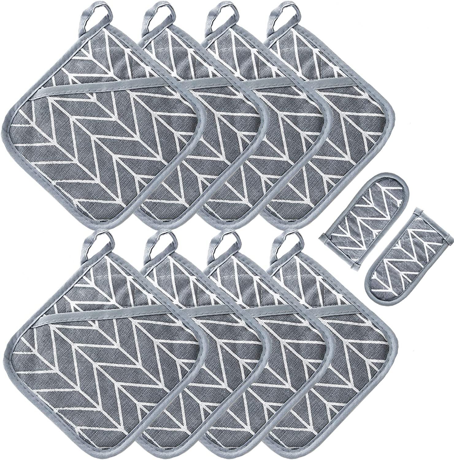 Win Change Heat Resistant Potholders Hot Pads-6 Kitchen Pot Holders Set with 2 Pan Hot Handle Holders Trivet for Cooking and Baking,with Recycled Cotton Infill Terrycloth Lining (Grey, 8+2)