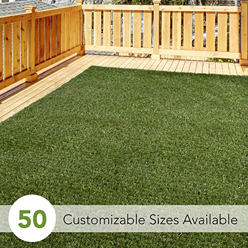 iCustomRug Thick Turf Rugs and Runners 12 X 17 Pet Friendly Artificial Grass Shag Available in 48 Different Sizes with Binding Tape Finished Edges