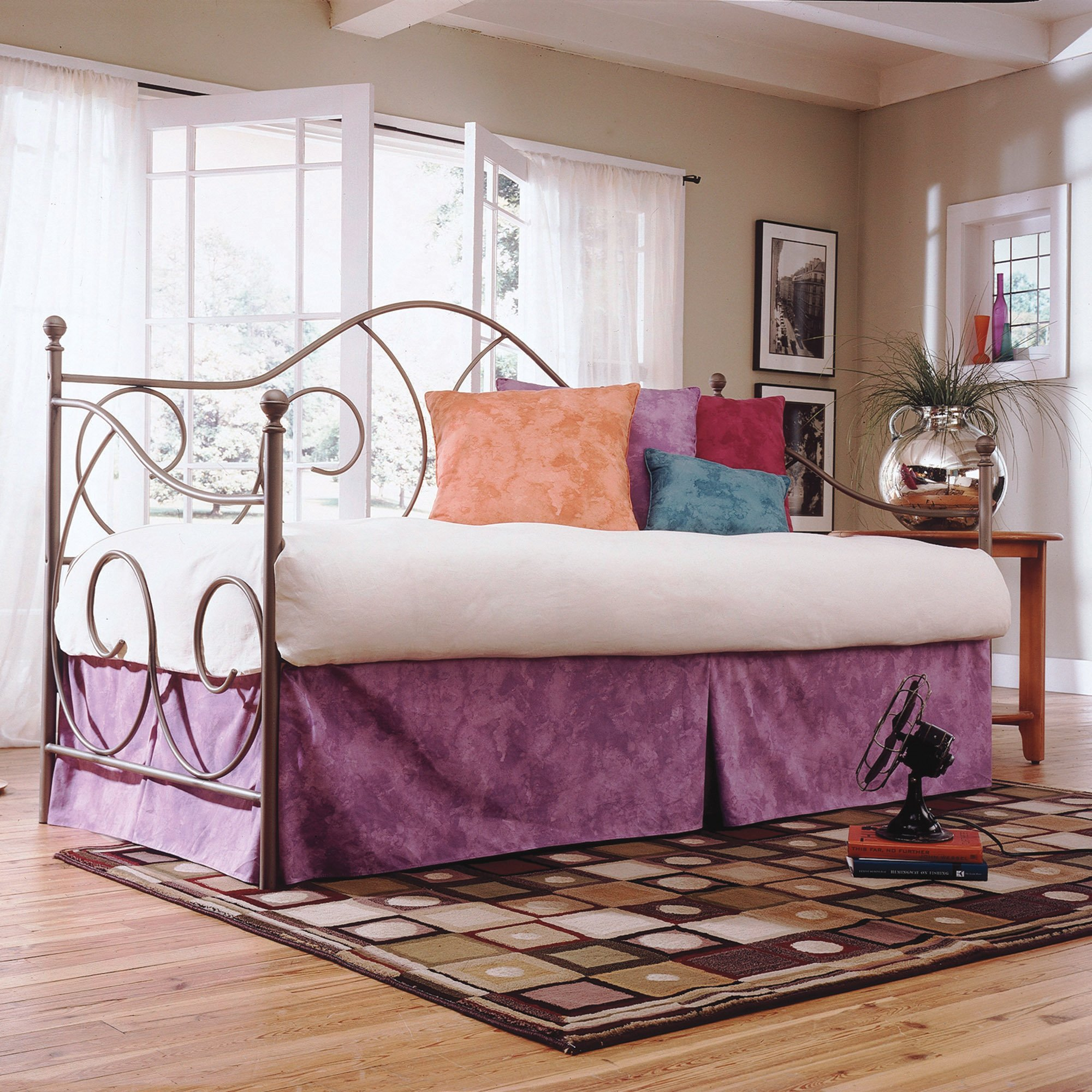 Caroline Complete Metal Daybed with Link Spring and Trundle Bed Pop-Up Frame, Flint Finish, Twin by Adjustables by Leggett & Platt (Image #2)
