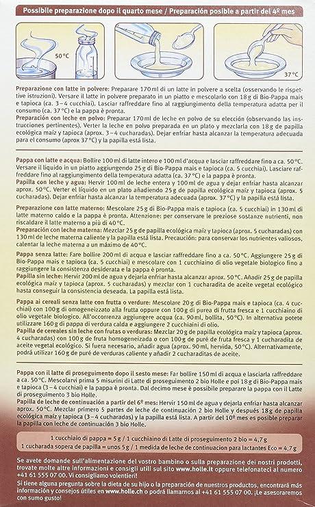 Holle Papilla de Maíz y Tapioca (+ 4 meses) - 6 Paquetes de 1 x 250 gr - Total: 1500 gr: Amazon.es: Salud y cuidado personal