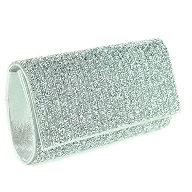 8a7d5b99a55 Women Ladies Dazzling Crystal Diamante Sparkly Flap Evening Party Wedding  Bridal Prom Silver Clutch Bag