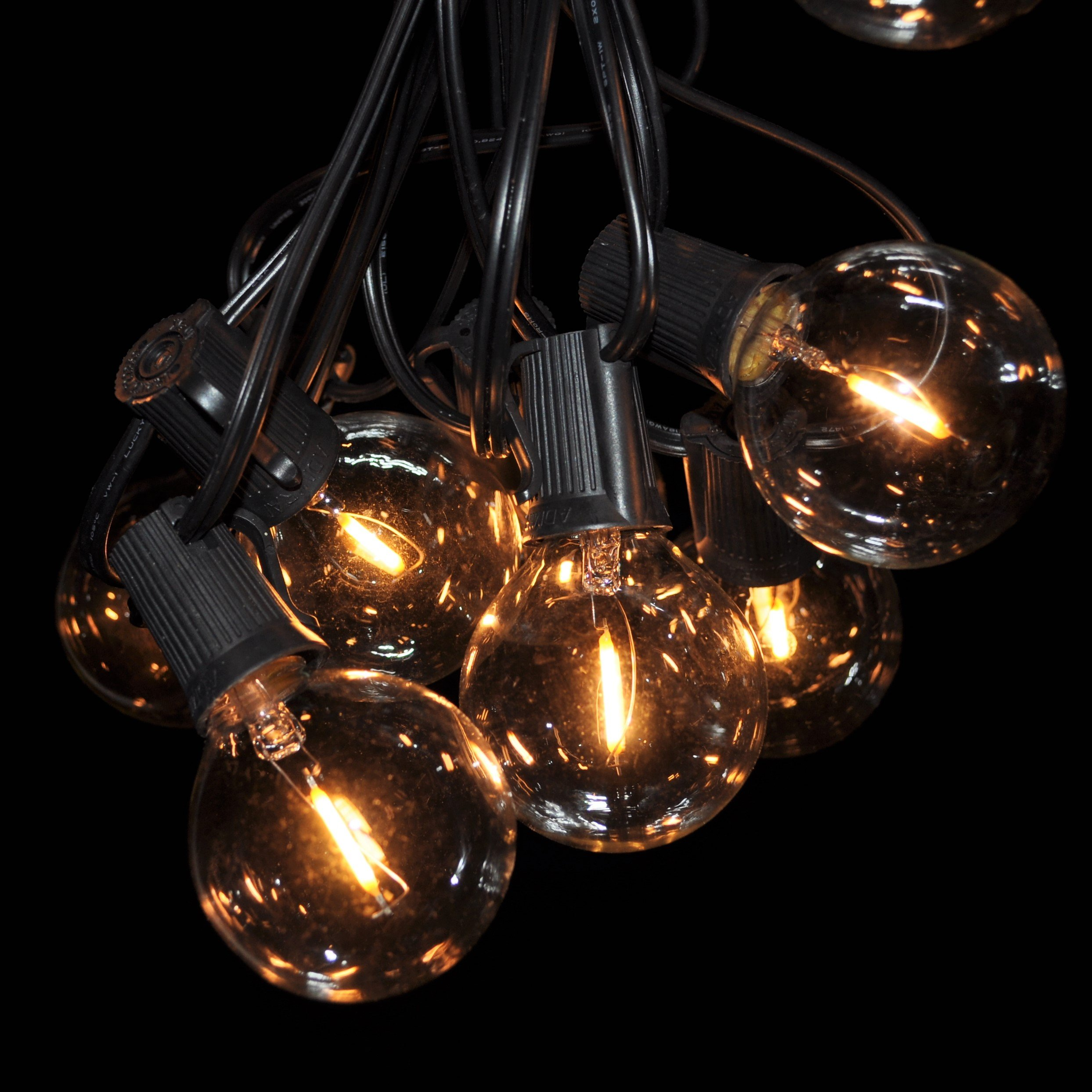 LED Filament Outdoor Patio String Lights (100 ft, LED Filament G50 Clear - Black Wire - 2'' .6 Watt Bulbs)