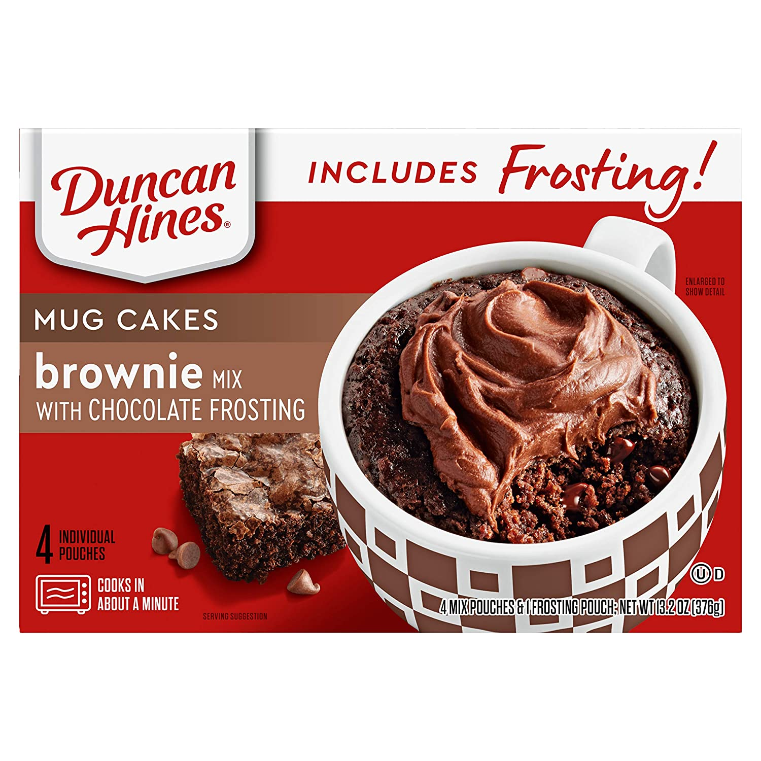 Duncan Hines Mug Cakes Brownie Mix with Chocolate Frosting, 13.2 oz Box