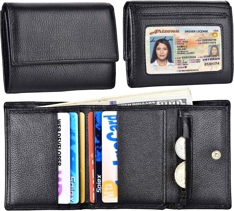 Credit Card Holder Ladies Wallet RFID Blocking Genuine Leather Trifold for Women Accordion Lichee Nimbus