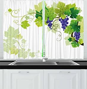 Lunarable Vine Kitchen Curtains, Leaves of Grapes Nature Drawing Style Veins Fruits Good Food Healthy Options, Window Drapes 2 Panel Set for Kitchen Cafe, 55 W X 39 L inches, Violet Blue Green
