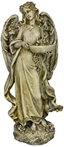 Roman Josephs Studio Inspirational Angel Bird Feeder Outdoor Garden Statue, 15.5-Inch