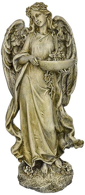 Roman Josephs Studio Inspirational Angel Bird Feeder Outdoor Garden Statue,  15.5 Inch