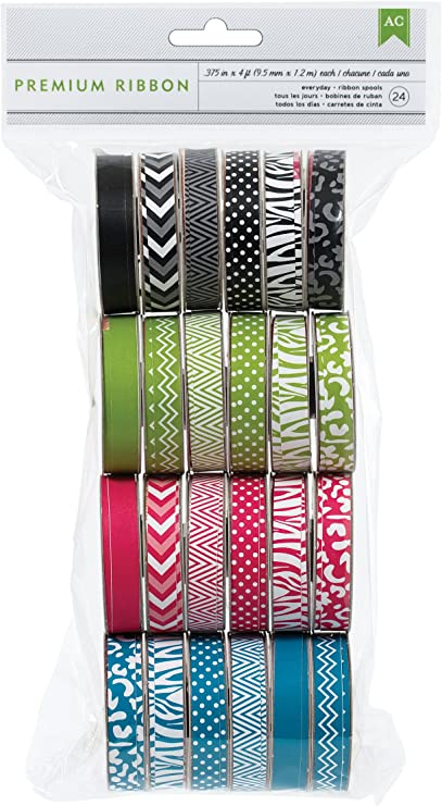 various printed and woven patterns 24 pack Extreme Value Neon Grosgrain Ribbon by American Crafts