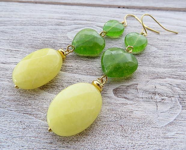 676794632ff6 Pendientes de jade amarilla y cuarzo verde