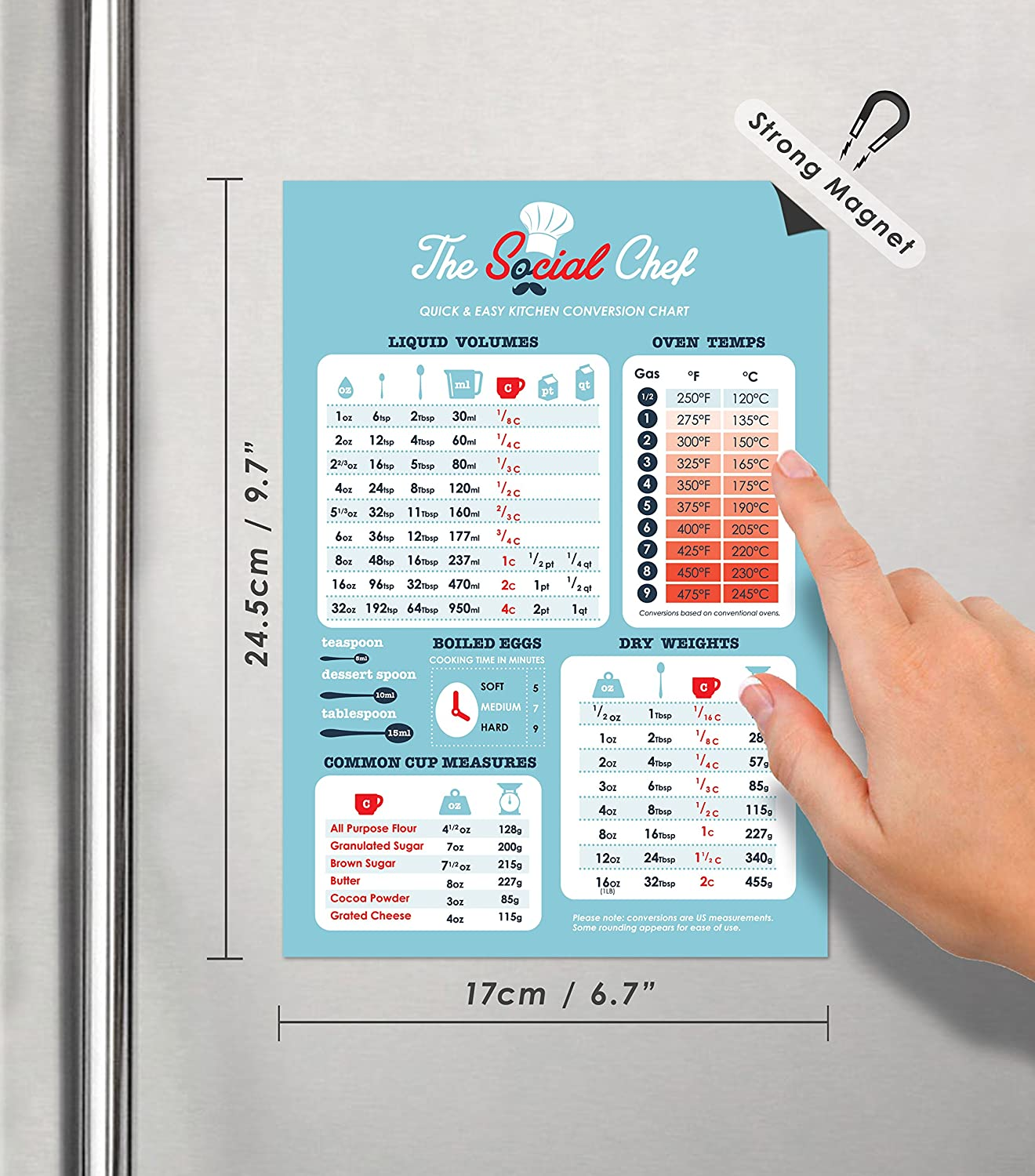 Amazon.com: Magnetic Kitchen Conversion Chart by The Social Chef ...