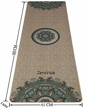 ZEROVIDA Colchoneta de Yoga 5mm Yoga Mat Caucho Natural 100% con Lino Ecológica Esterilla de Yoga Profesional Lujoso Antideslizante para Hot Yoga ...
