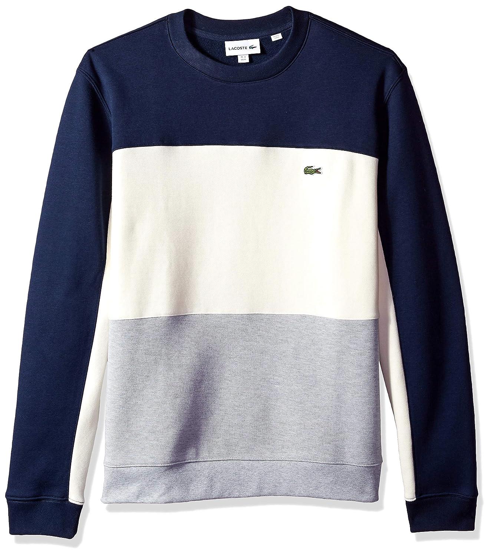 9c0c1b04a27 Lacoste Men's Long Sleeve Brushed Pique Fleece Colorblock Sweater