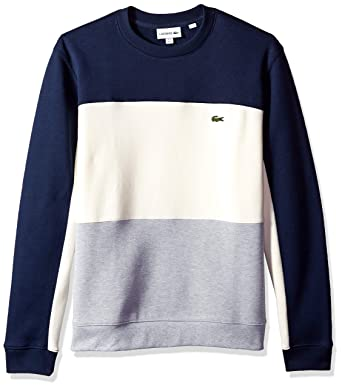 467bbe2e6f Lacoste Men's Long Sleeve Brushed Pique Fleece Colorblock Sweater, Silver  Chine/geode/Navy