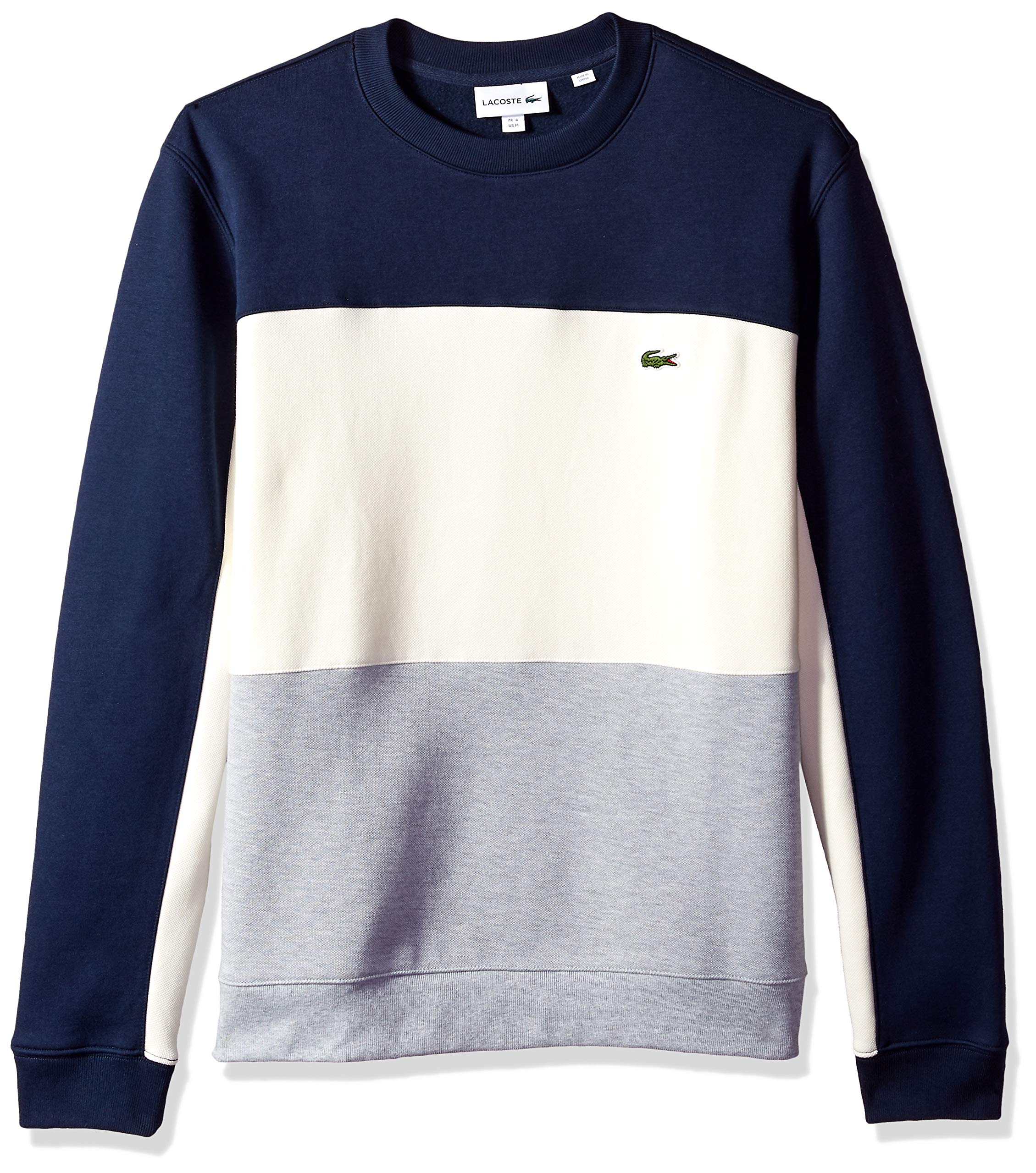 Lacoste Men's Long Sleeve Brushed Pique Fleece Colorblock Sweater, Silver Chine/geode/Navy Blue, Large