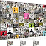 Bilder 120 x 80 cm - GRAFFITI STREET ART BY BANKSY - Vlies Leinwand - Kunstdrucke -Wandbild - XXL Format – mehrere Farben und Größen im Shop - Fertig zum Aufhängen - !!! 100% MADE IN GERMANY !!! - 302731a