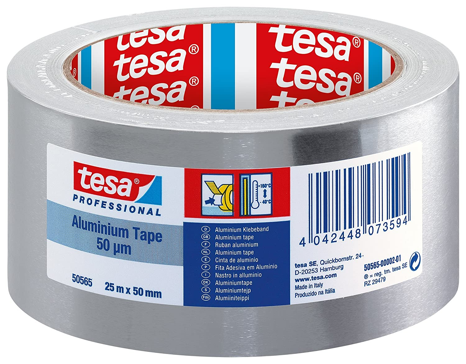 tesa Professional Aluminium Foil Tape for Repairing Ducts and Gutters, 50  mm x 25 m: Amazon.co.uk: DIY & Tools