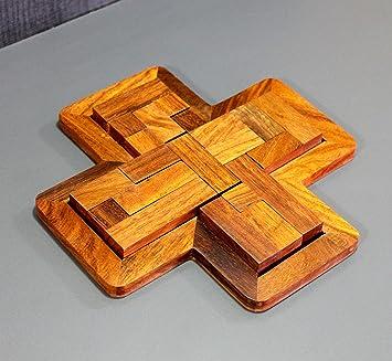StonKraft Wooden Rosewood Small Wooden Jigsaw/Tangram Puzzle Board - Cross Shape