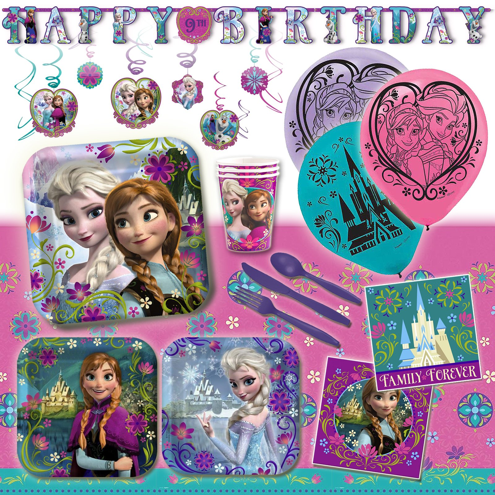 Deluxe Disney Frozen Sisters Birthday Party Pack Decoration Kit For 16 by Disney