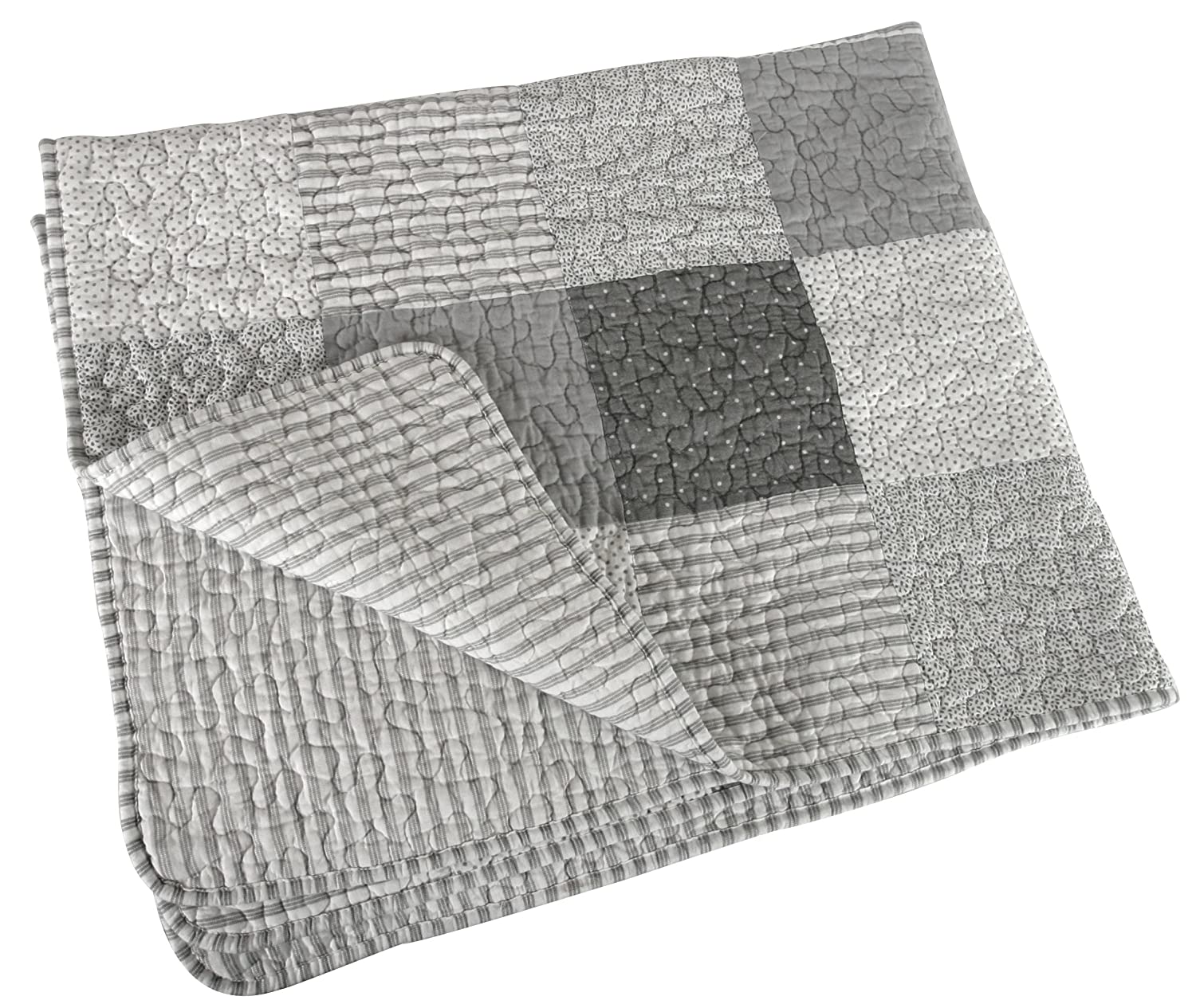 Stephan Baby Reversible Pieced Stripes /& Dots Crib Quilt with Straight Hem Gray and White