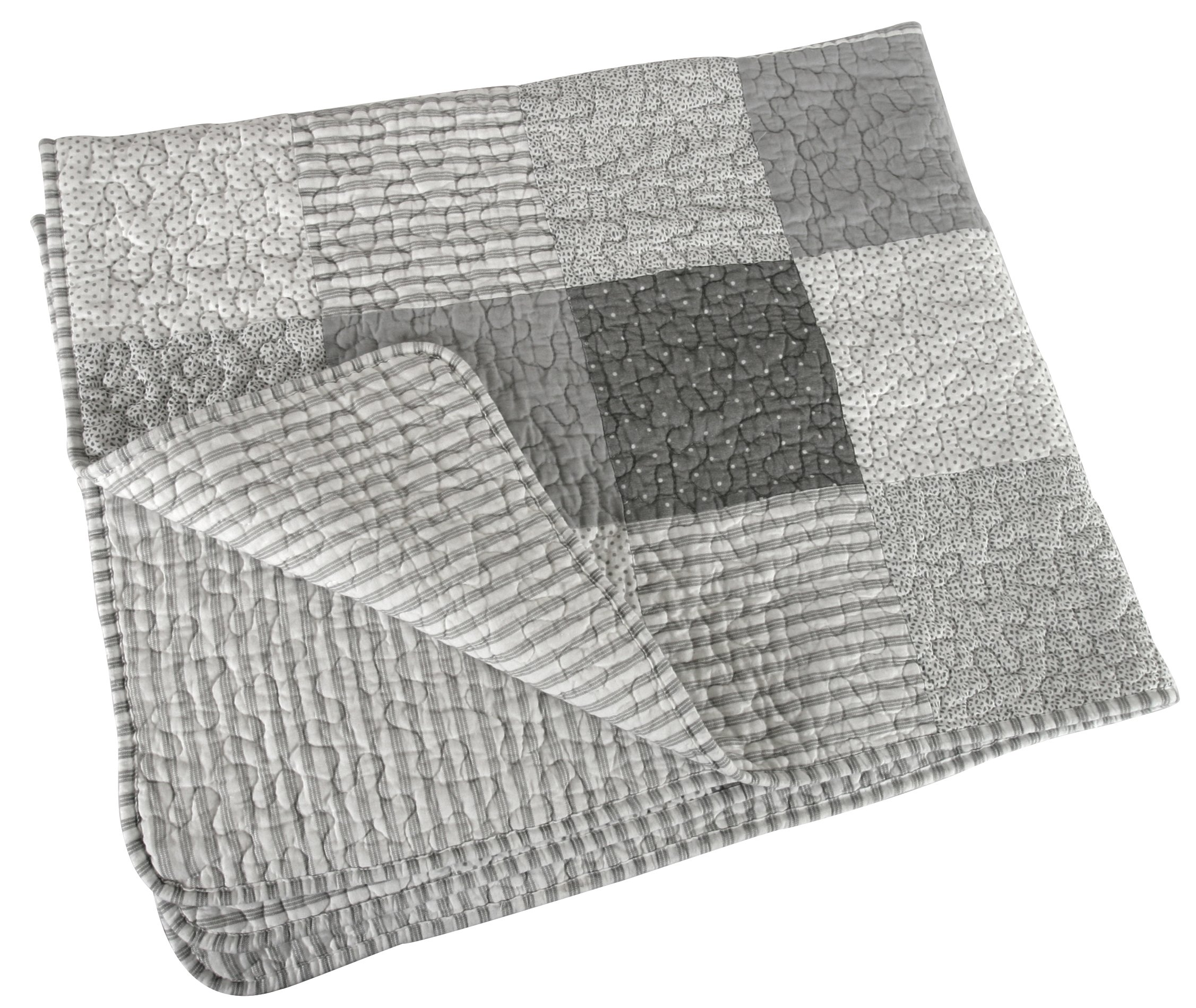 Stephan Baby Reversible Pieced Stripes & Dots Crib Quilt with Straight Hem, Gray and White