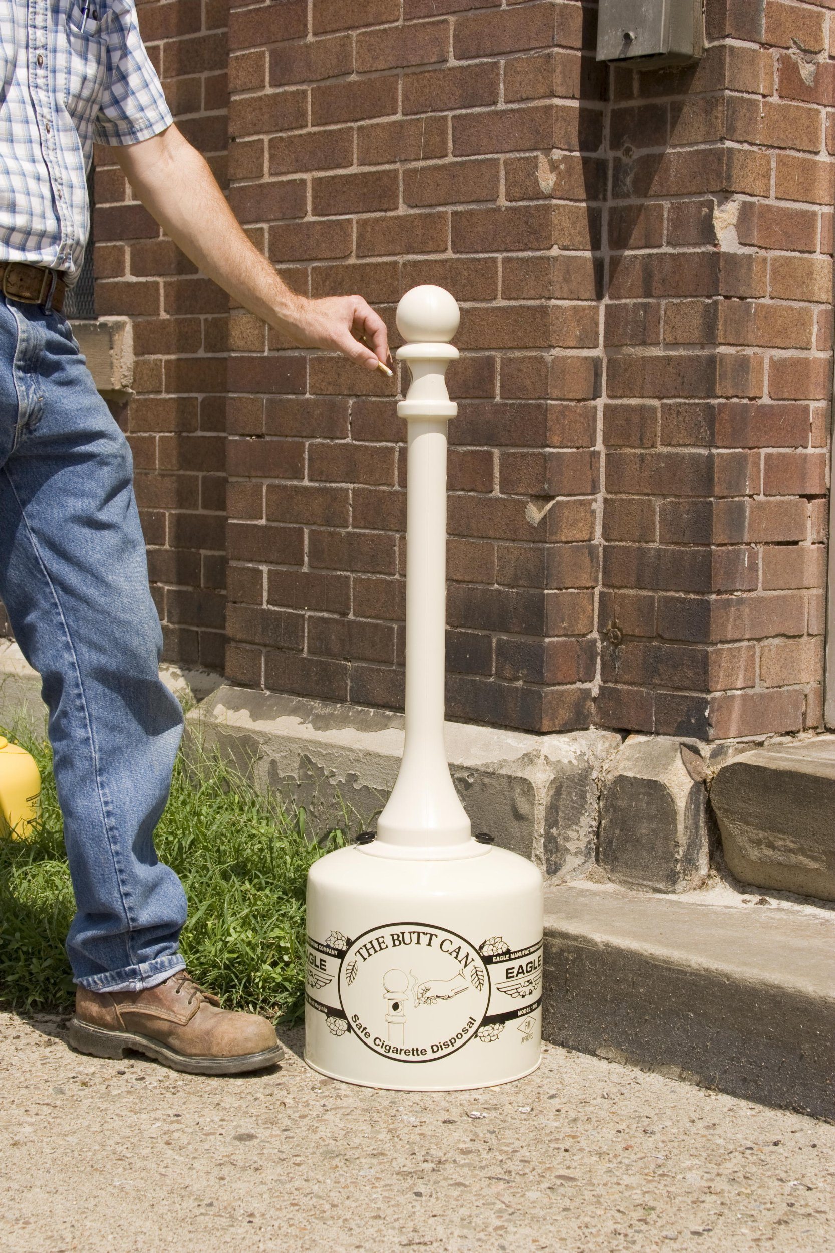 Eagle 1205BEI Galvanized Steel Cigarette Butt Receptacle, 5 gallon Capacity, 40'' Height, 12'' Diameter, Beige