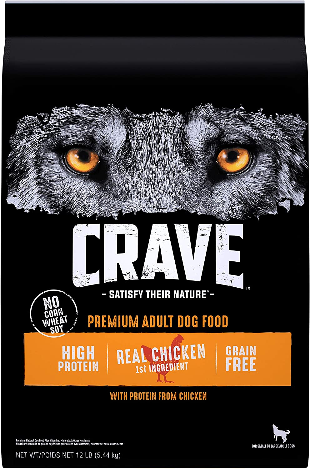 CRAVE Grain Free Adult High Protein Natural Dry Dog Food with Protein from Chicken, 12 lb. Bag