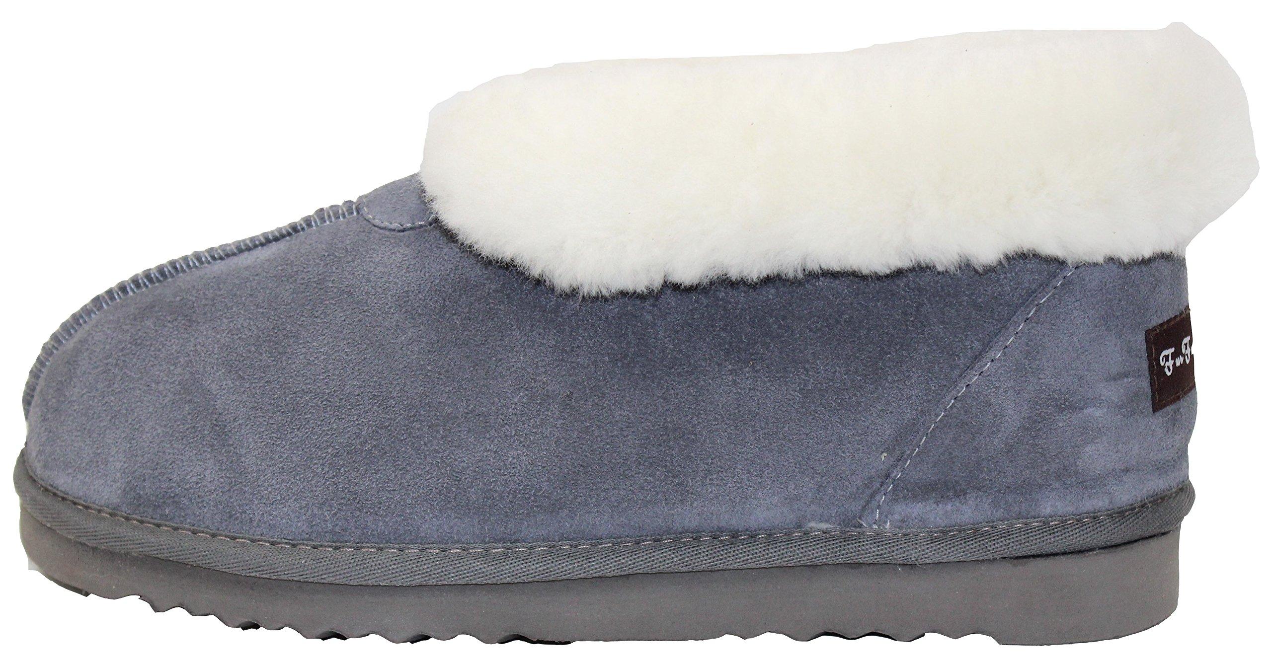 Furfurmouton Men's Slippers Booties Australian Sheepskin E809 (9, Light Gray)