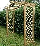 MIO-GIARDINO Dover - Pergola in legno con copertura ad arco e pannelli graticolati laterali. Ideale per i rampicanti