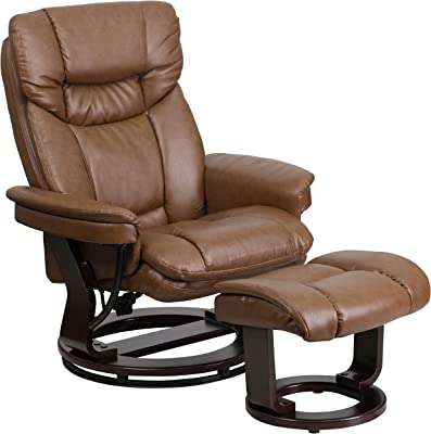 My Friendly Office MFO Contemporary Palimino Leather Recliner and Ottoman with Swiveling Mahogany Wood Base