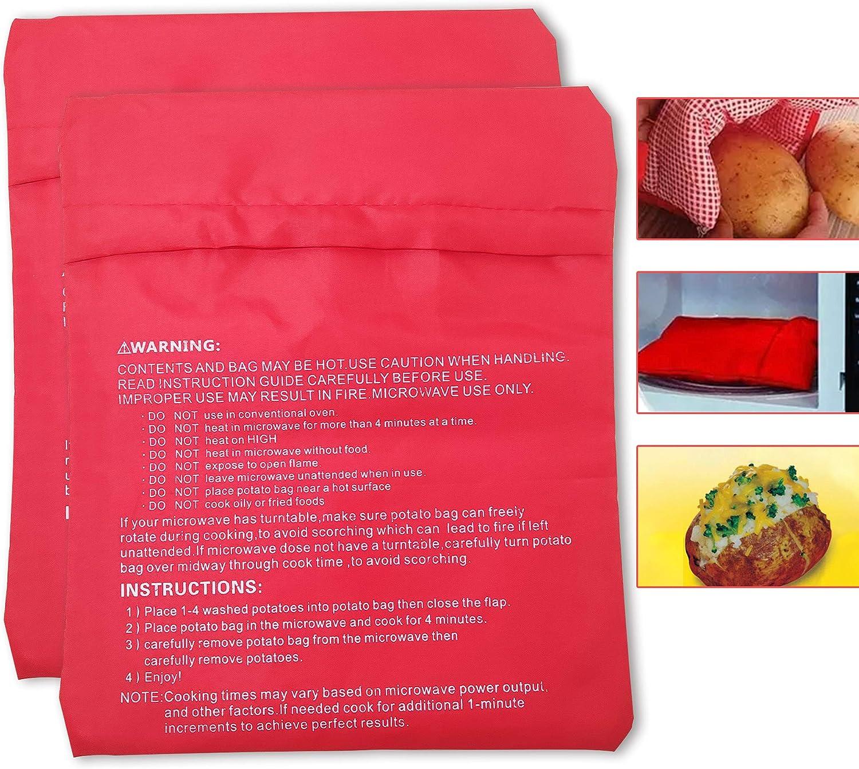 2pcs Baked Potato Bag Reusable Microwave Cooker Pouch For Potatoes Yam Corn
