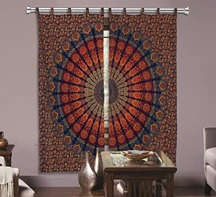 GANESHAM Indian Shower Curtain Living Room Decor Blackout Door Valance Balcony Sheer Draped Mandala