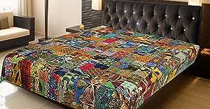"COR's King Size Patola Cotton Patch Work Kantha Quilt, Kantha Blanket Bedspread, Patch Kantha Throw, King Kantha, Kantha Rallies Indian Sari Quilt, Size 90"" X 108"""
