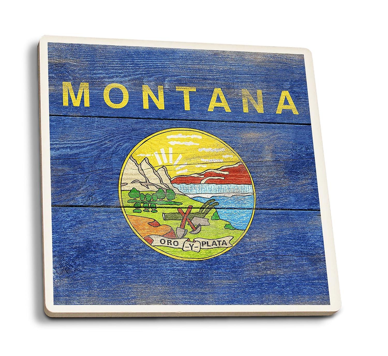 素朴なMontana State Flag 4 Coaster Set LANT-52558-CT 4 Coaster Set  B01FOLWGME
