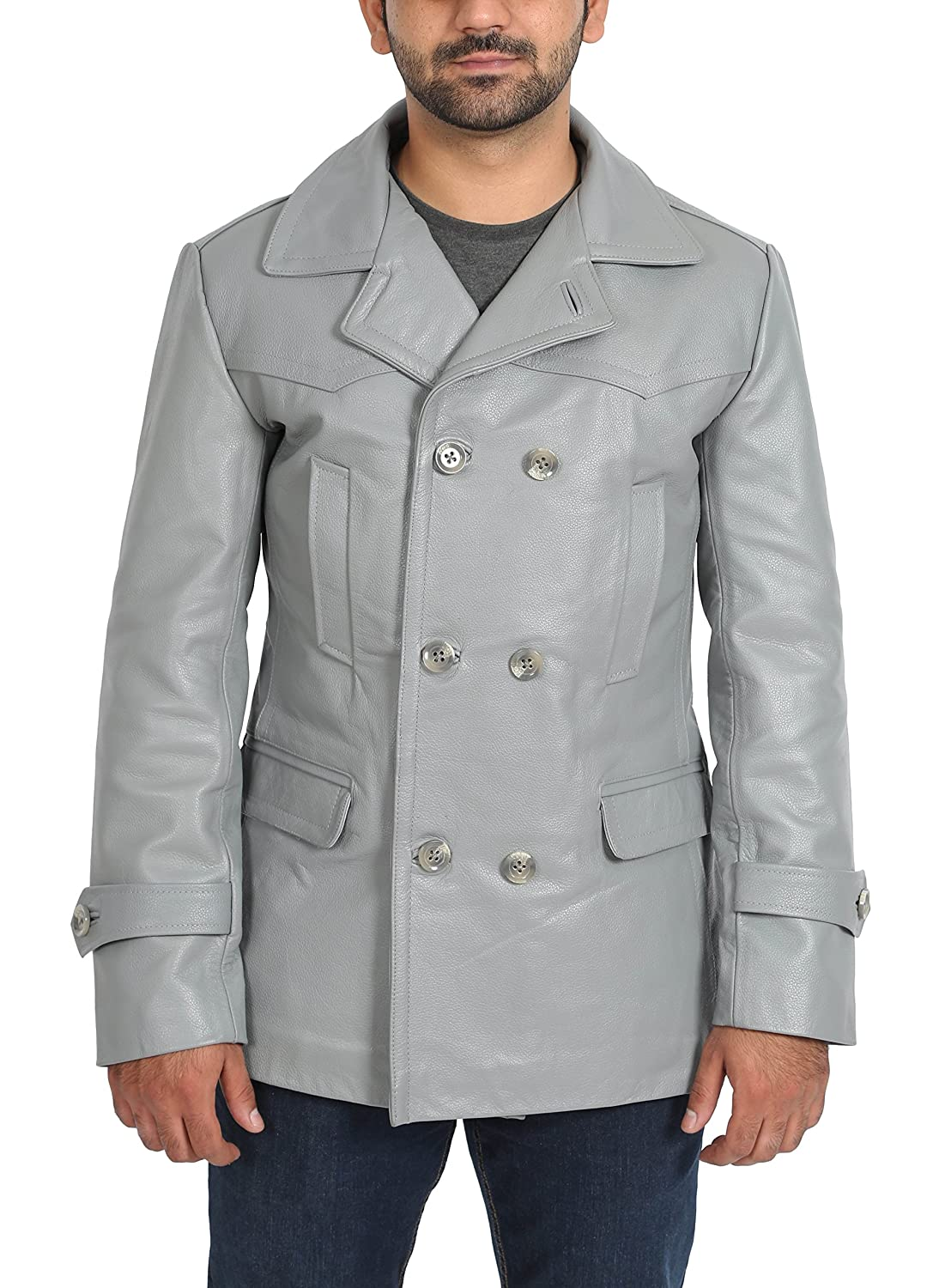 076780557ef Dry Clean Only Made from hard wearing cow full grain leather. Double  breasted three button fastening. Wide lapel collar - Belt feature on the  back