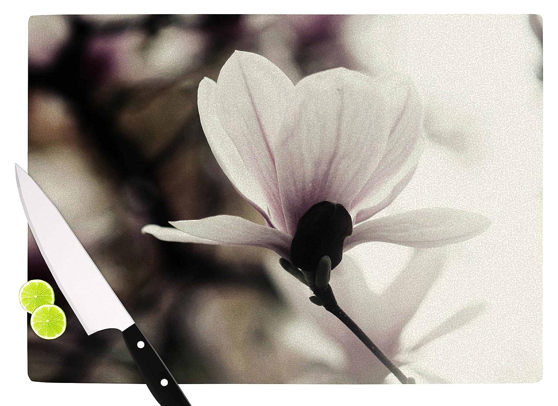 KESS InHouse Chelsea VictoriaVanilla Magnolia Yellow Floral Cutting Board 11.5 x 15.75 Multicolor