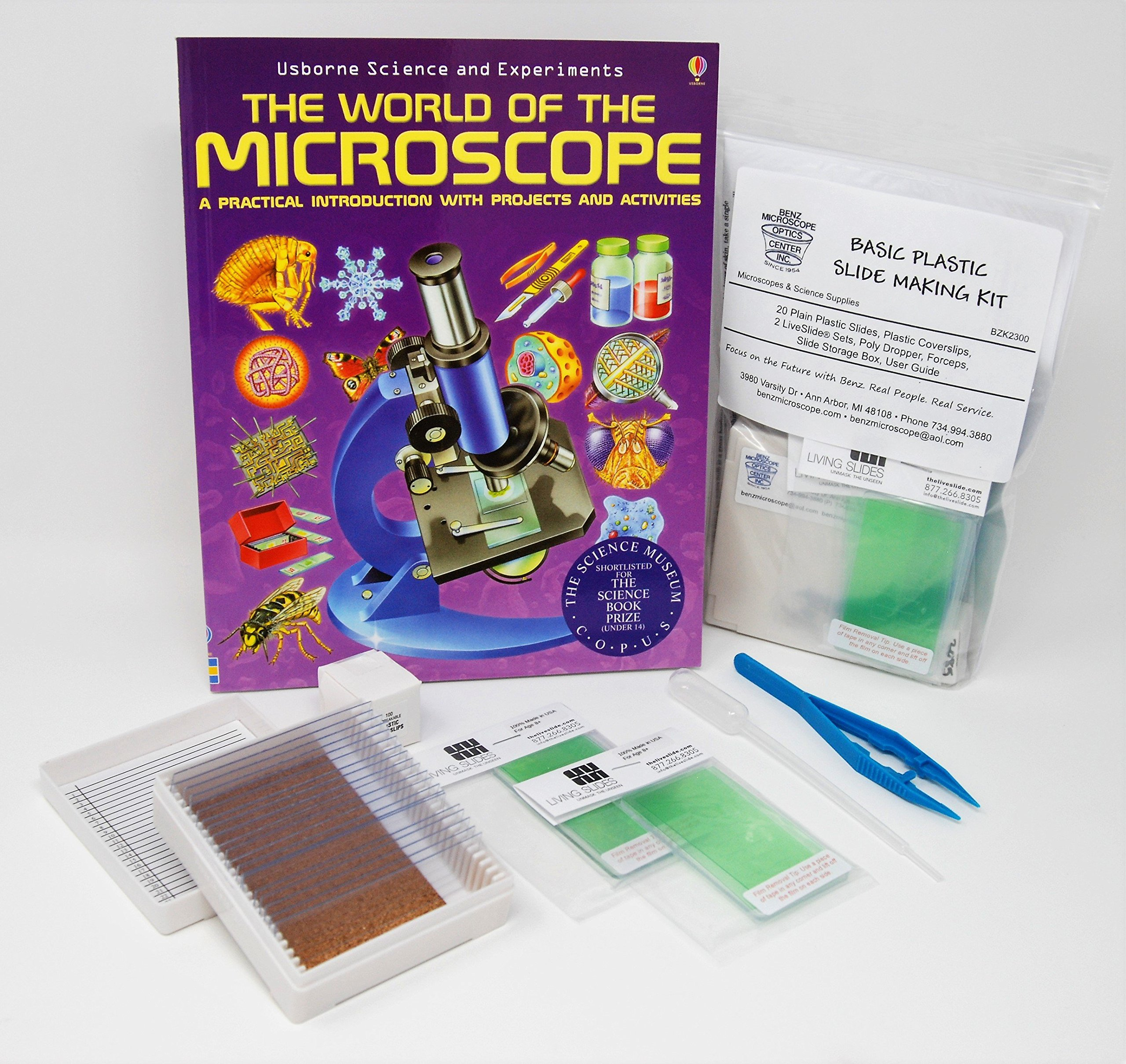 Benz Microscope Basic Plastic Slide Making Kit with The World of Microscopes Book
