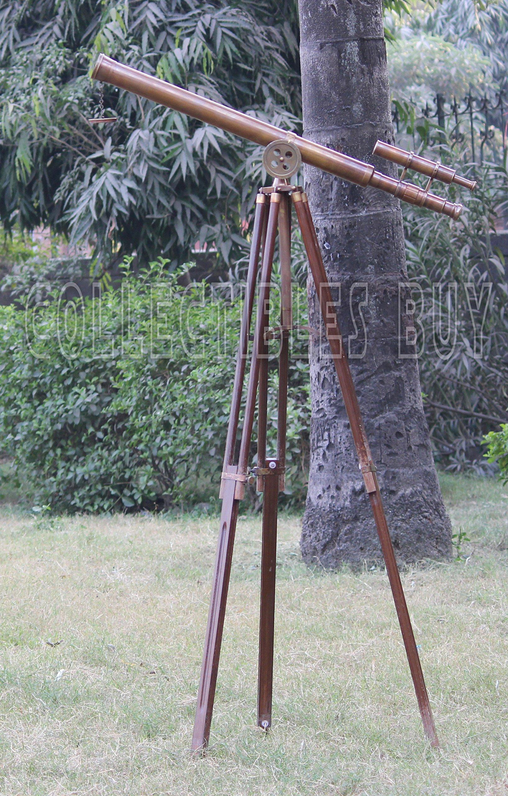 Collectibles Buy U.S. Navy Griffith Antique Tripod Telescope Double Barrel Nautical Decorative (Double Barrel Tube (Height:65 Inches)) by Collectibles Buy