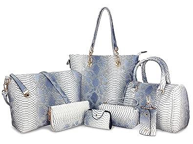 Hoxis Pack of 7 Bags Women Multi-purpose Classic Design Patent Purse  Leather Leatherette Shoulder Handbag c72e0c984d7da