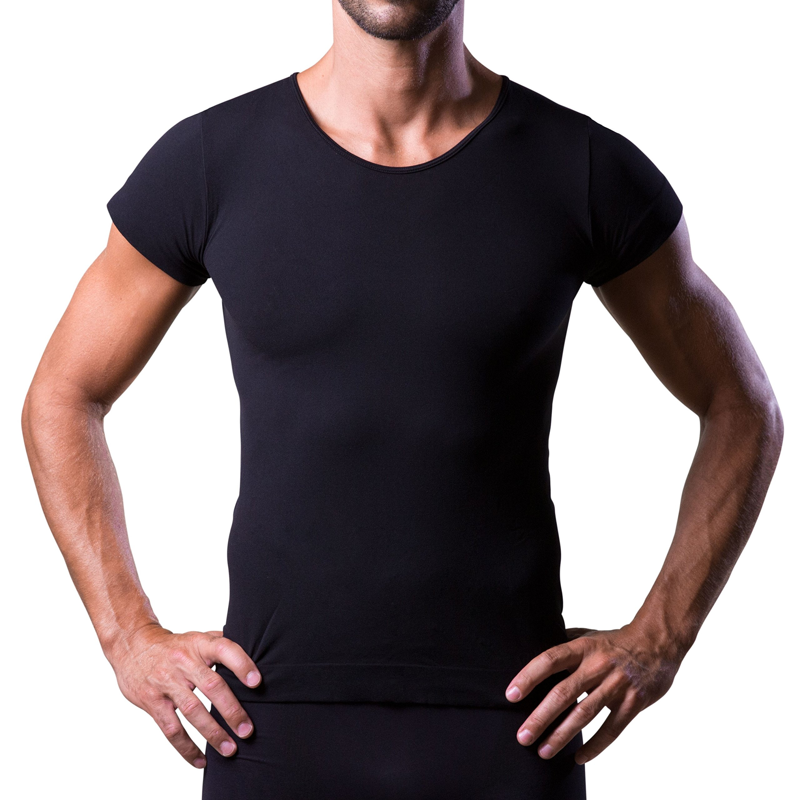 T-DRY men's undershirts invisible and breathable seamless business t-shirt, Black, XX-Large