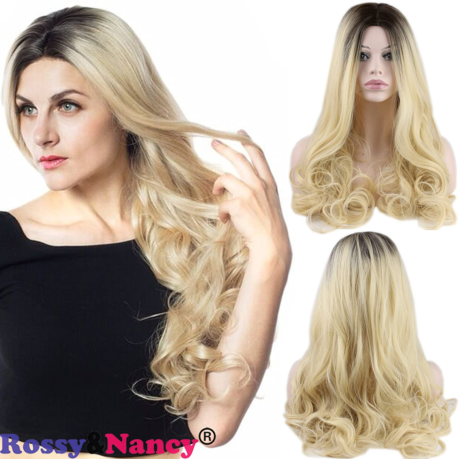 Amazon Rossynancy Long Wavy Curly Black Roots To 613 Blonde