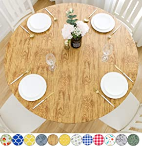 Rally Home Goods Indoor Outdoor Patio Round Fitted Vinyl Tablecloth, Flannel Backing, Elastic Edge, Waterproof Wipeable Plastic Cover, Cedar Wood Grain Pattern for 5-Seat Table of 36-44'' Diameter