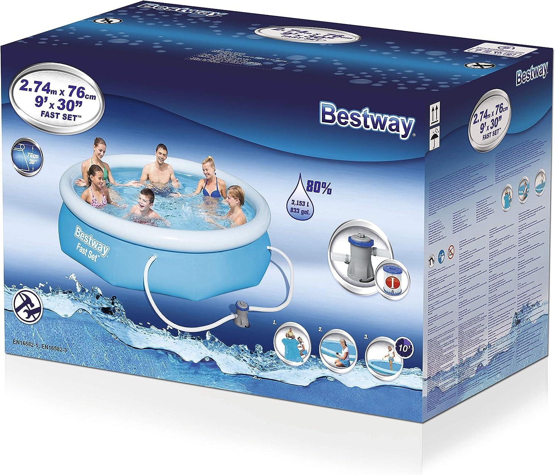 Bestway 57272 Fast Set Pool 274 x 76 cm, con Bomba de Filtro, Color Azul: Amazon.es: Juguetes y juegos