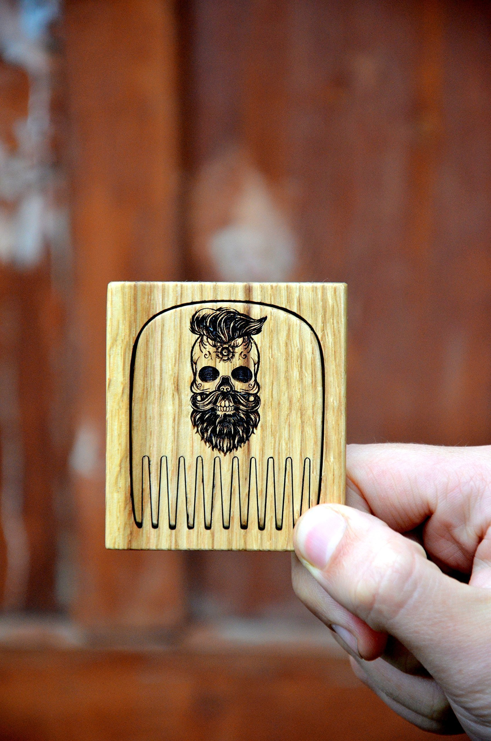 Beard comb wood by Enjoy The Wood moustache comb in wooden case Anti-Static Wooden Comb for Men with Sugar skull Great with beard Balm Grooming kit Husband gift Anniversary Man Father Boyfriend