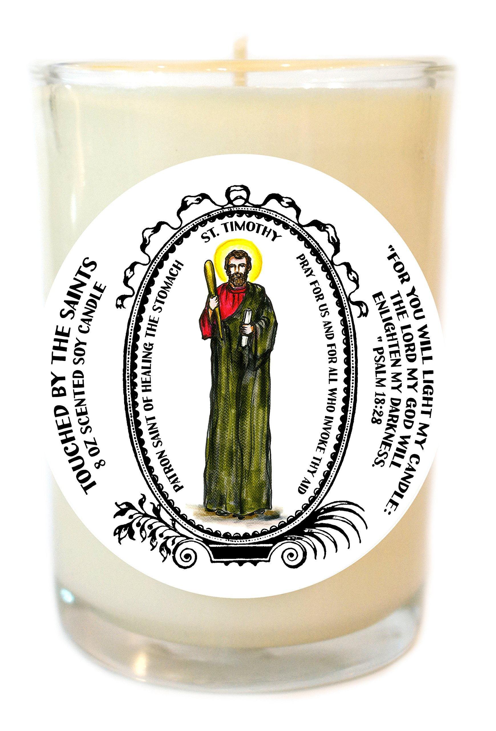 St Timothy Patron of Healing the Stomach 8 Oz Scented Soy Glass Prayer Candle