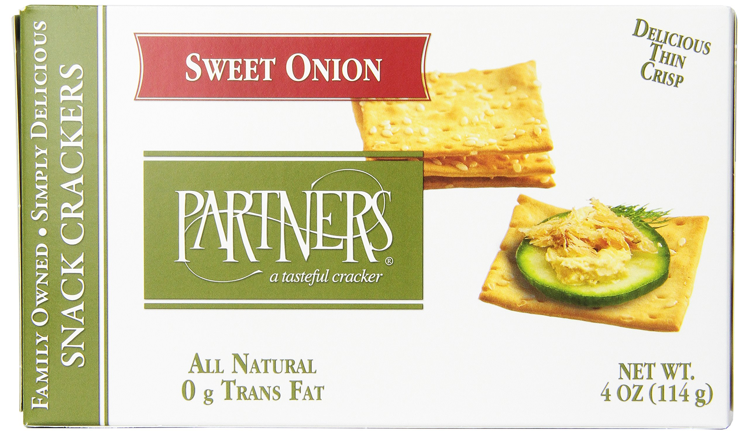 Partners All Natural Crackers, Sweet Onion, 4-Ounce Boxes (Pack of 6)