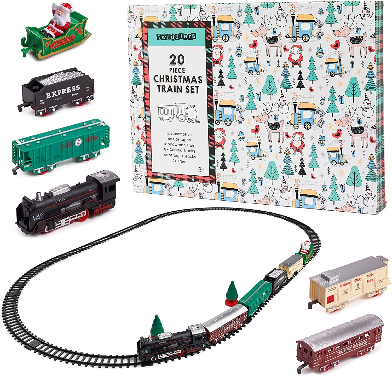 2 Gerade /& 8 Gebogene Eisenbahn| Weihnachtsbaum Deko 14 St/ück Weihnachtszug Elektrisch Spielzeug Set mit Licht /& Ton| 1 Lokomotive 2 Wagen 1 Schneemannwagen Kinder Geschenk.