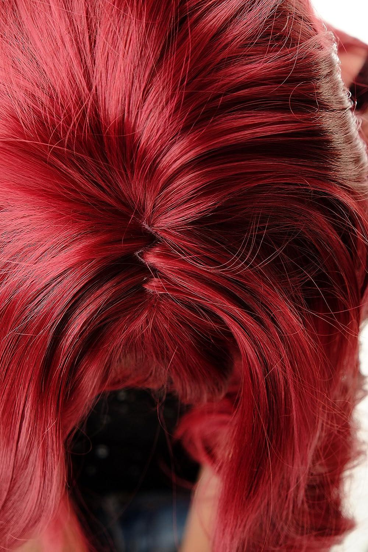 WIG ME UP- GFW821AL-39 peluca de mujer pelo largo liso ligeramente ondulado voluminoso flequillo rojo granate 55 cm