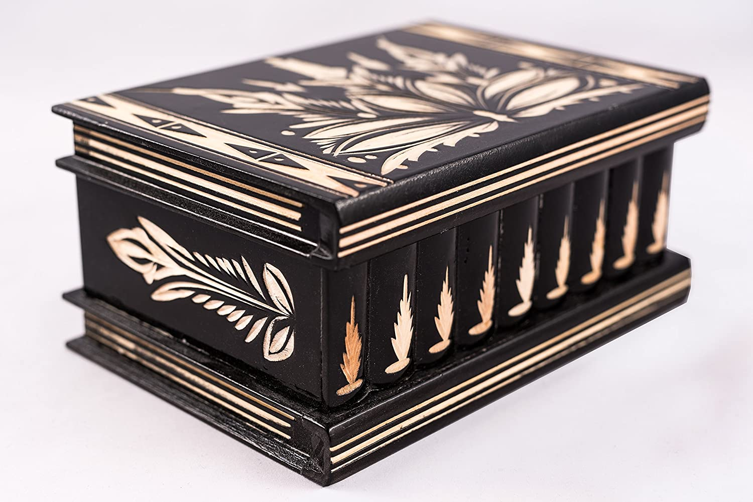 - Top Quality Elegant Box with Easy Open//Closing Mechanism Puzzles Handmade Wooden Puzzle Boxes with Hidden Compartment Large Decorative Storage Box for Jewelry Great Gift Black Toys