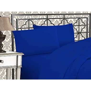 Elegant Comfort Luxurious & Softest 1500 Thread Count Egyptian Three Line Embroidered Softest Premium Hotel Quality 4-Piece Bed Sheet Set, Wrinkle and Fade Resistant King Royal Blue