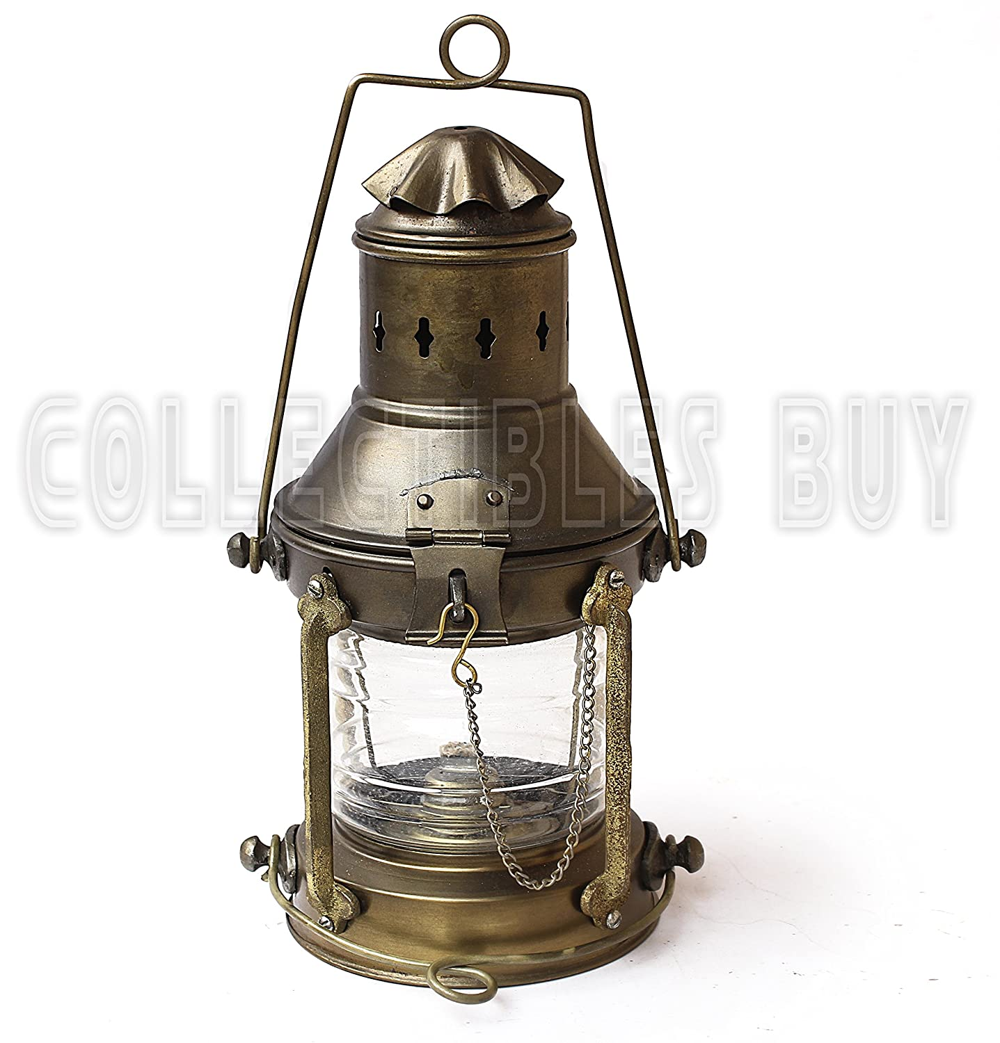 Coastal Christmas Tablescape Décor -  Antique brass vintage hanging oil or kerosene ship lantern